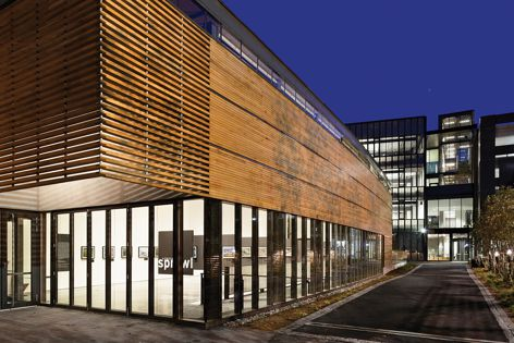 Battens of western red cedar create a dynamic facade treatment.