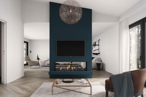 Available from Escea, the DS1400 gas fireplace is truly frameless – where the wall ends, the glass begins.