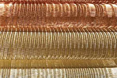 The new metallic textiles by Sophie Mallebranche use metal materials like stainless steel and coppe.
