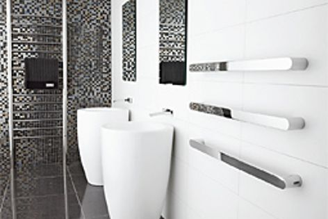Vega in stainless steel is one of the towel rails in the sleek DCS range.