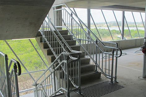 This fire stair system has a modular design which provides robustness and cost efficiencies.