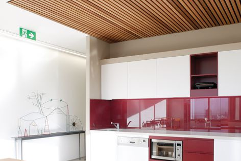 Screenwood ceiling panels are available in numerous profiles and finishes.