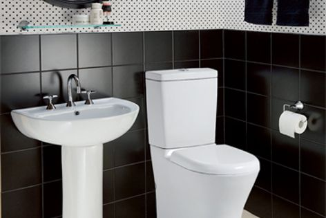 The Santana toilet suite coordinates with a Coral wall basin and an Atlanta three-piece basin set.