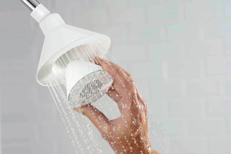 Kohler's Moxie Bluetooth-enabled showerhead streams music, talk and podcasts into the shower stall.