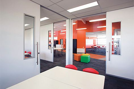 Lotus acoustic sliders are ideal for open-learning classroom designs.