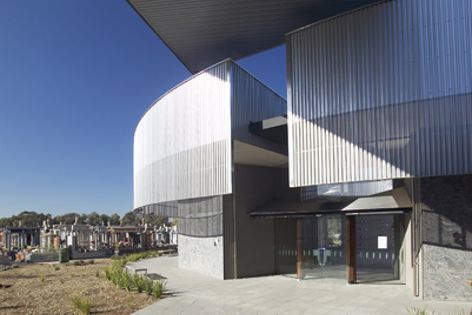 Longspan stainless steel cladding at the Holy Angels Mausoleum, Fawkner Memorial Park, Melbourne.