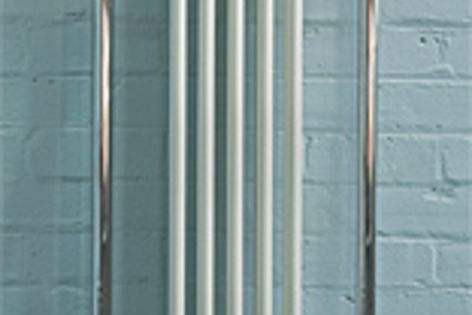 Hawthorn Hill towel warmers are available in finishes such as chrome, pewter and gold.