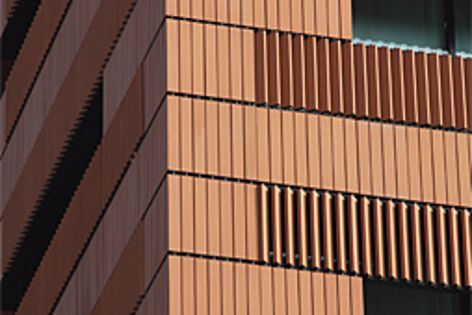 The Campari building in Italy features terracotta wall cladding.