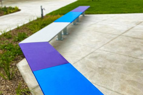 Ideal for varied configurations, Precinct outdoor benches and tables are available in many colours.
