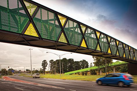 Safe T Perf has been used on this Melbourne bridge as an anti-throw screen.