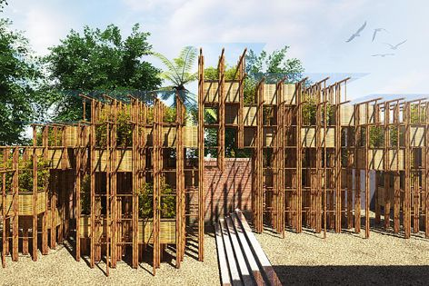 Concept render for Fugitive Structures 2016: Bamboo Wall (working title) by Vo Trong Nghia Architects. Commissioned by Sherman Contemporary Art Foundation, Sydney. Image courtesy of the architect.