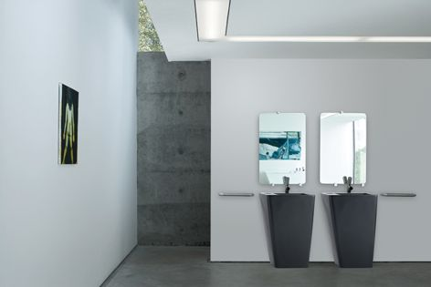 Laufen's graceful IlBagno Alessi Dot bathroom collection is now available in matt black.