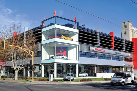 Project architects Dealership Design Services specified Hi-Light concealment louvre panels.