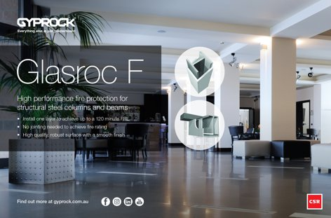 Glasroc F fire protection by Gyprock