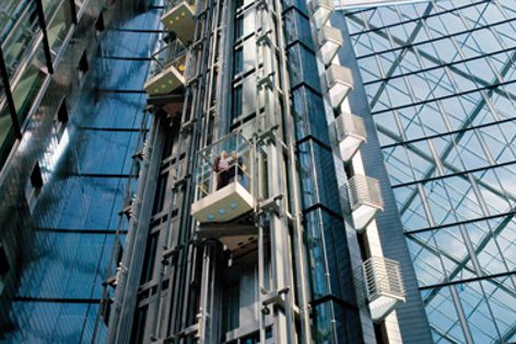 Two elevator cars travel independently in a single shaft in the Twin elevator.