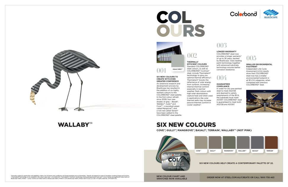Six new colours from Colorbond Steel