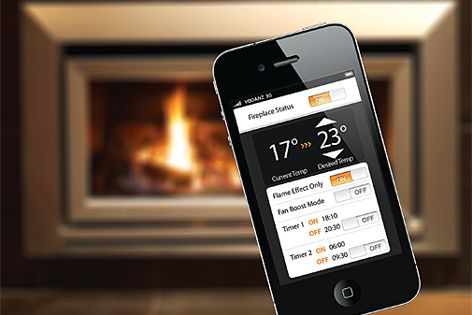 The Escea gas fireplace smartphone app allows users to control their fireplace through their phone.