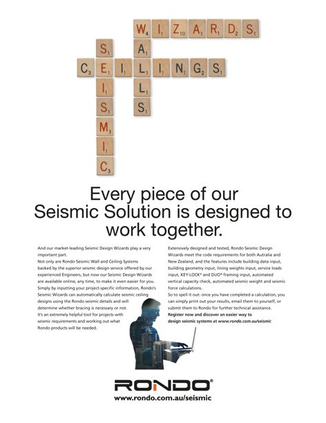 Seismic wall and ceiling solutions by Rondo