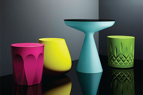 The Glass collection by Keith Melbourne is inspired by glassware, but made from plastic.