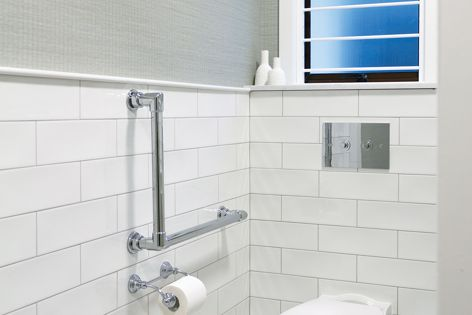 The grab rails can be customized to combat bathroom constraints.