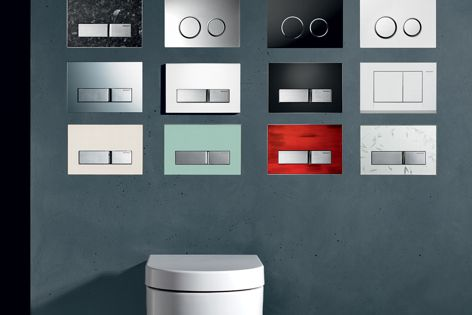 Versatile colour and finish suit the Sigma50 push-plate range to any bathroom.