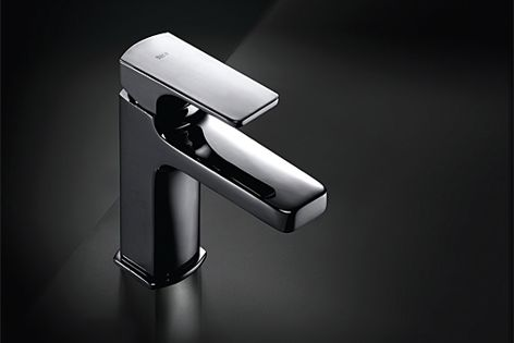 The low-maintenance Escuadra tap from Roca is stylish and easy to clean.