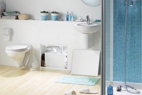 The Saniflo small bore pumping system facilitates bathroom installation away from an existing sewer.