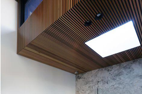 Castellation interior cladding brings the warmth of Western red cedar to interior spaces.