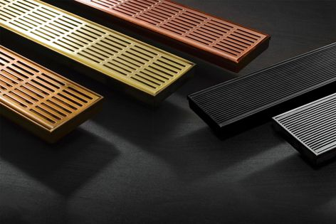 Offering creative options in grate design, Stormtech's range of metallic colours and finishes includes brass, copper, bronze and matt black.